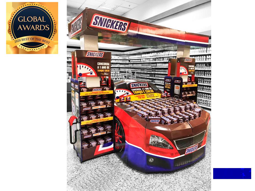 Display especial carro Mars Snickers ganhador global awards PDV Ponto de venda