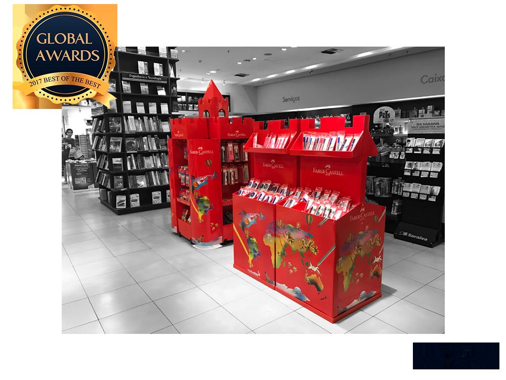 Display espcial castelo Faber Castell ganhador global awards PDV Ponto de venda