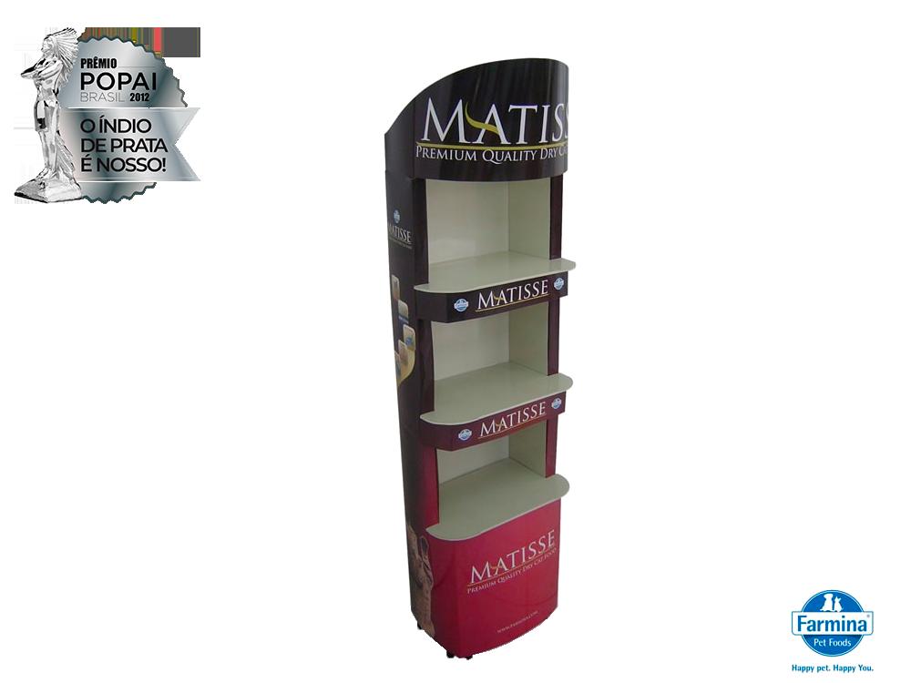 display de papelão expositor premio_popai_neopack_display_matisse_farmina_2012_prata