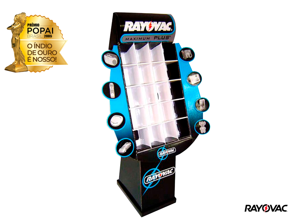 display de papelão expositor premio_popai_neopack_display_rayovac_ouro_2005